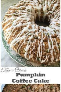 Pumpkin Coffee Cake with glaze - A delicious recipe for pumpkin coffee cake. Topped with a pumpkin spiced streusel and vanilla glaze. A delightful fall recipe. | Fall Recipe | Pumpkin Spice Recipe | Pumpkin Recipe | Coffee Cake Recipe |