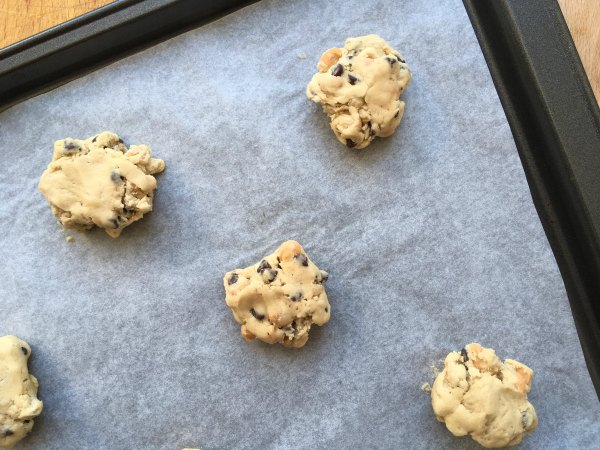 Chewy Chocolate Chip Cookies raw dough on baking sheet