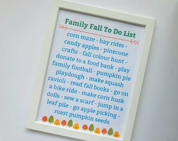fall bucket list printable in frame