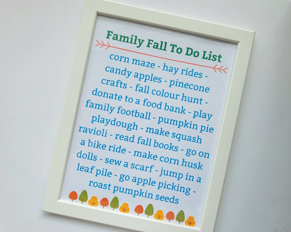 fall bucket list printable in frame