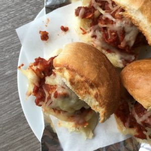 meatball sliders on plate