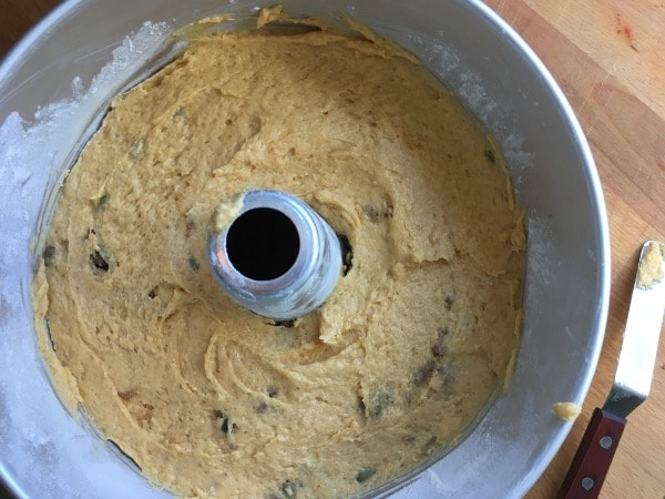 Pumpkin Coffee Cake Batter in Pan