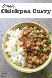 Simple Chickpea Curry - We love this quick, healthy and delicious chickpea curry recipe. Take a vegetarian twist on a hearty curry recipe | Vegetarian Recipe for Families | Curry Recipe | Kid Friendly Vegetarian Recipe |
