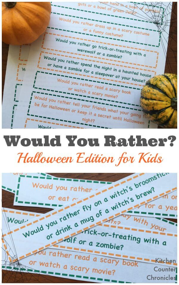 Would You Rather Halloween Edition - A fun game to play with the kids...what decision will you make. Free printable game. | Halloween with Kids | Halloween Activity | Printable Game for Kids |