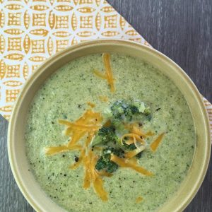 broccoli and cheddar soup recipe in a bowl