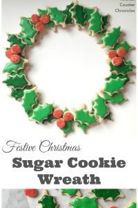 Festive Christmas Sugar Cookie Wreath - A beautiful dessert to bring to any holiday party. Delicious cinnamon sugar cookies transform into a gorgeous Christmas wreath. | Christmas Cookies | Sugar Cookie | Christmas Baking with Kids |