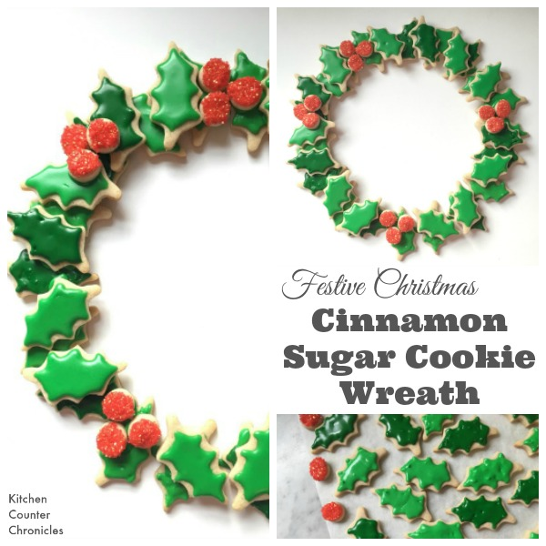 Festive Christmas Sugar Cookie Wreath