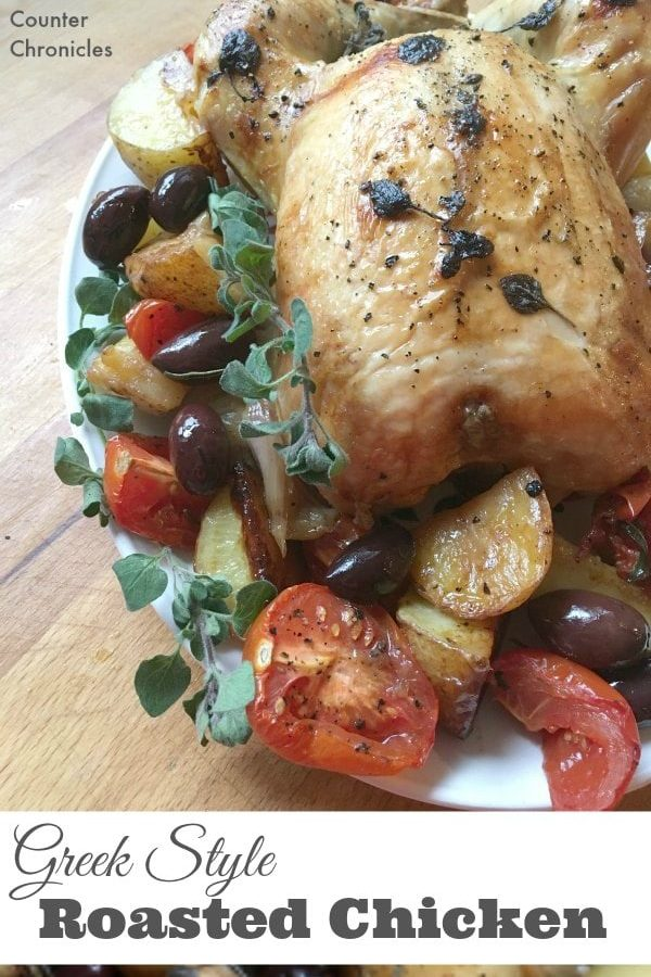 Greek Style Roast Chicken - Tired of the same old chicken? This oven roasted chicken embraces the flavours of Greece. Oregano, lemon, olives, tomatoes and more. Delicious family favourite recipe.   Greek Recipe   Oven Roasted Chicken Recipe   Roasted Vegetables  