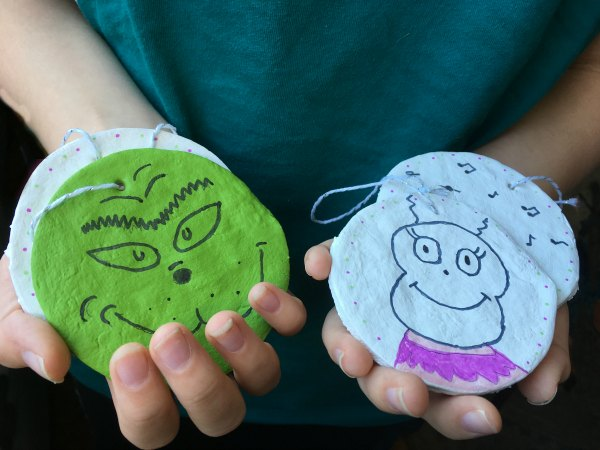 Grinch Ornaments with child's Hands