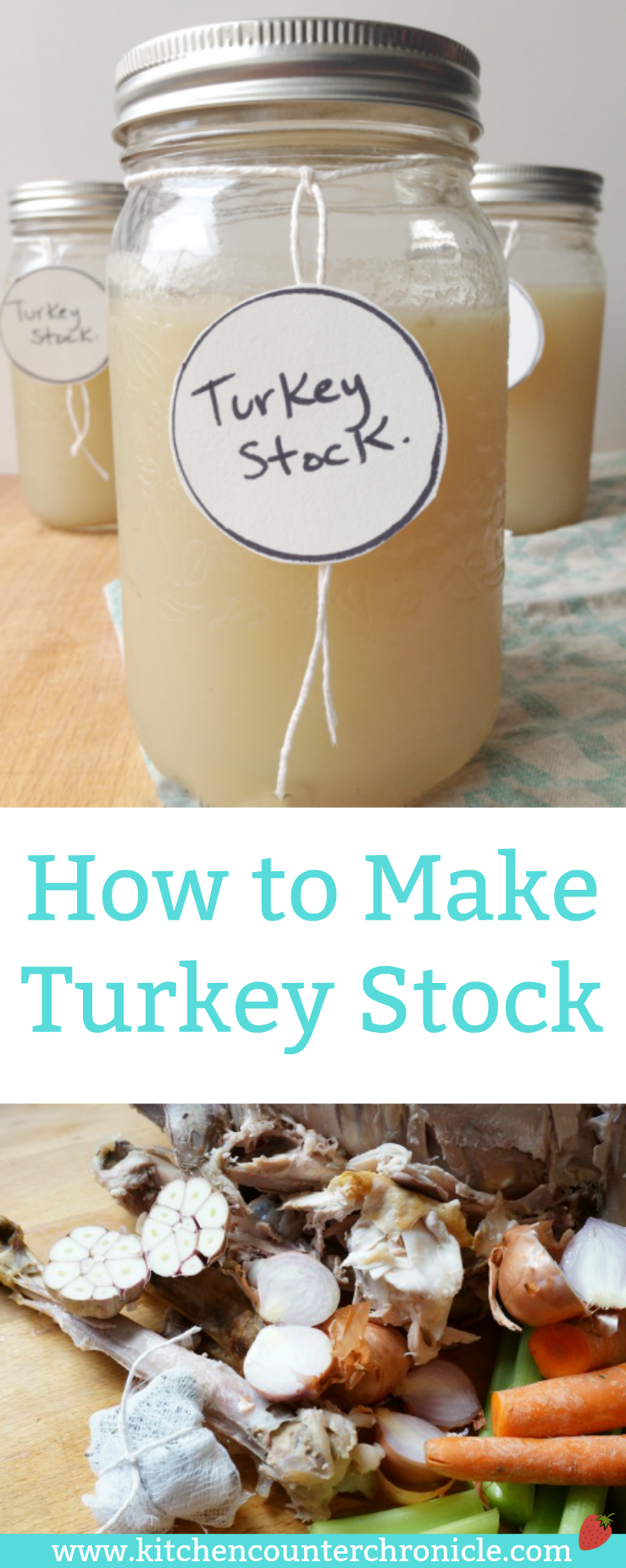 How to Make Turkey Stock - This is a simple recipe for making turkey stock at home. Throw everything in the pot an let it simmer. | Turkey Recipe | Turkey Soup Recipes | Thanksgiving Recipe | Christmas Turkey Recipe