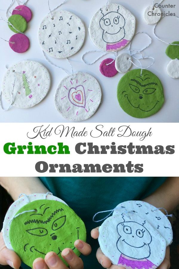 Kid Made Salt Dough Grinch Christmas Ornaments - Decorate the tree with these simple Grinch inspired ornaments. Based on the classic book and using a quick salt dough recipe. Let the kids be creative this holiday. | Kid Made Christmas Ornaments | Christmas Ornament | Salt Dough Recipe | Grinch Ornaments | Cindy Lou Who |