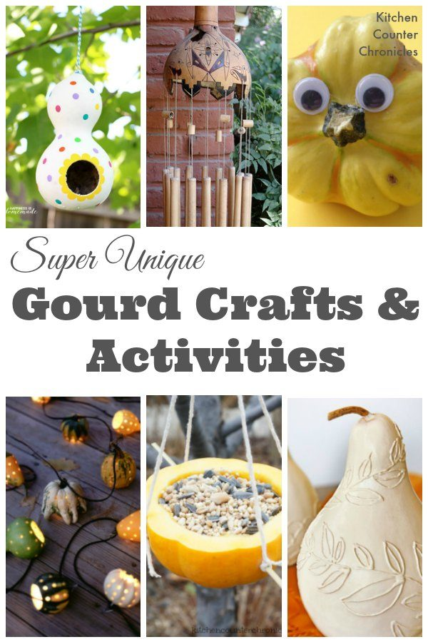 Super Unique Gourd Crafts and Activities - Who knew that those silly little gourds could be reused in such beautiful and clever ways. Discover how to transform your gourds and have a whole lot of fun. | Fall Craft for Kids | Bird feeder craft | Crafts for Kids |
