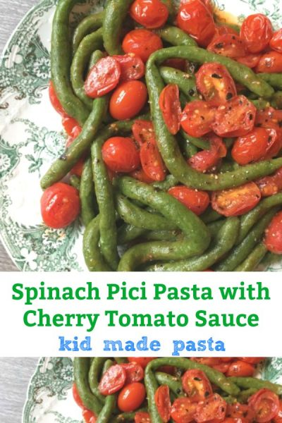 spinach pici pasta with cherry tomato sauce