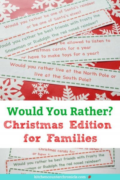 would you rather christmas game for families