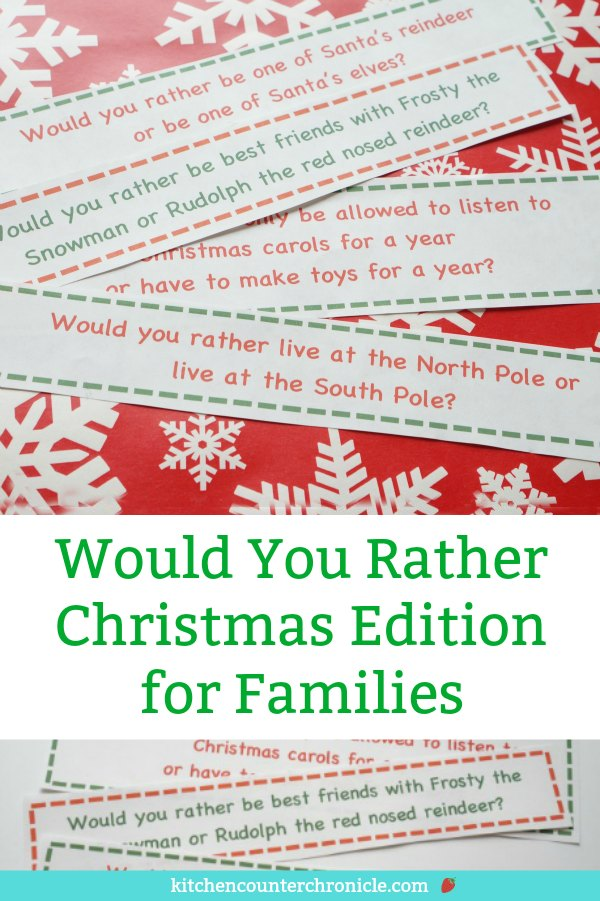 would you rather christmas edition for families