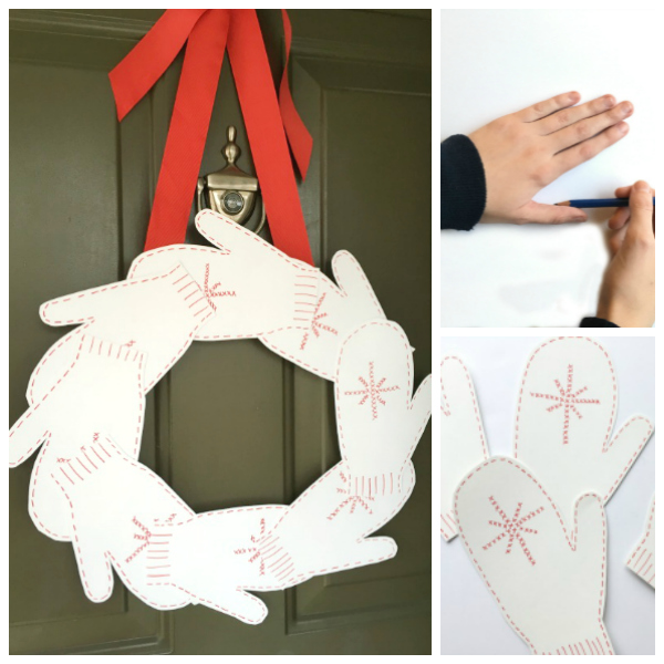 Festive Holiday Mitten Wreath
