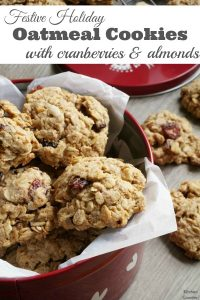 Festive Holiday Oatmeal Cookies - Make and bake these cookies with the kids. A simple and healthy recipe for oatmeal cookies with cranberries and almonds. Made with whole wheat flour and only a small amount of sugar, these cookies are perfect for anytime of the year. | Kids in the Kitchen | Baking with Kids | Oatmeal Cookies | Christmas Cookies |