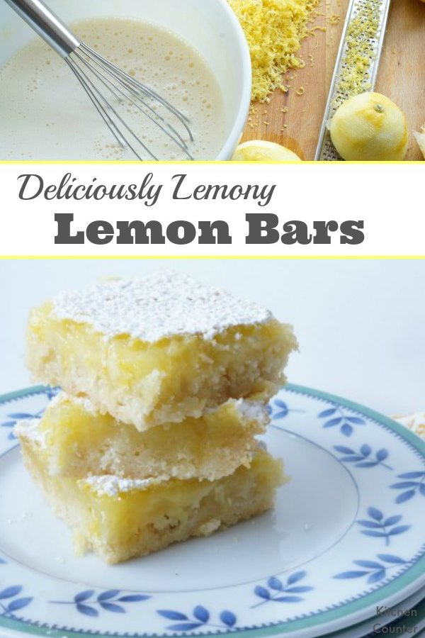 Lemony Lemon Bars Inspired by Lemony Snicket - Bake a batch of these tart and sweet lemon bars that are inspired by Lemony Snicket. A thick and crisp cookie crust makes these lemon bars perfectly delicious. | Baking with kids | Cooking with kids | Lemon Dessert Recipe |
