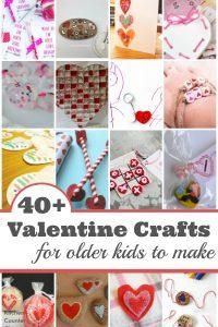 40+ Valentine Crafts for Older Kids to Make - Valentine cards, Valentine gifts, Valentine decorations that school aged kids will have fun making and giving to their friends. | Valentine Crafts for Kids | Kid Made Valentine Crafts |