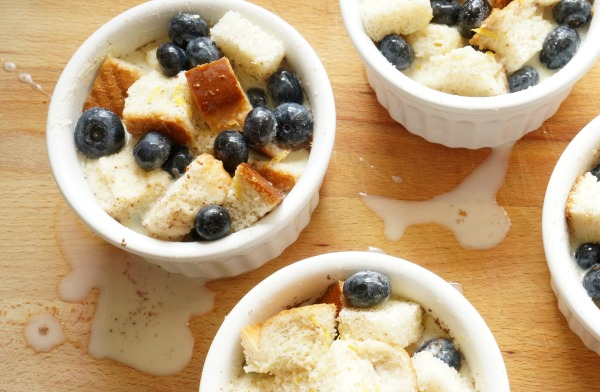 blueberry bread pudding in ramekins