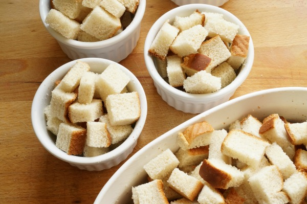bread pudding with bread in dishes