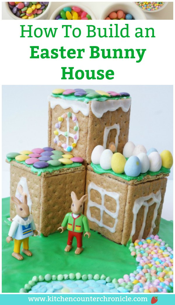 The Easter Bunny needs a house! Gather up the sweet treats and build an Easter Bunny house. The kids LOVE making this cute Easter activity. #Easter #EasterDessert #GingerbreadHouse #EasterBunnyHouse #EasterActivityforKids #KidsActivities #KidsintheKitchen #StemforKids