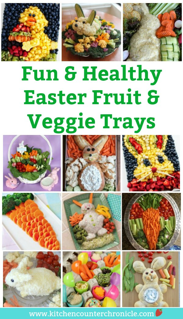 Have fun this Easter making a deliciously healthy Easter vegetable tray and fruit tray. So many super cute and simple ideas to inspire you. #easter #easterrecipe #easterappetizer #appetizer #healthyappetizer #vegetabletray #fruittray #healthyrecipe #funfood