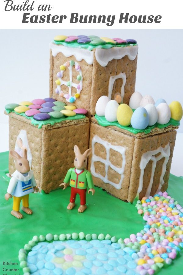 Build an Easter Bunny House - Have fun with the kids designing and building an Easter Bunny house from graham crackers and Easter candies. | Easter Cookies | Easter Craft for Kids | Easter Bunny
