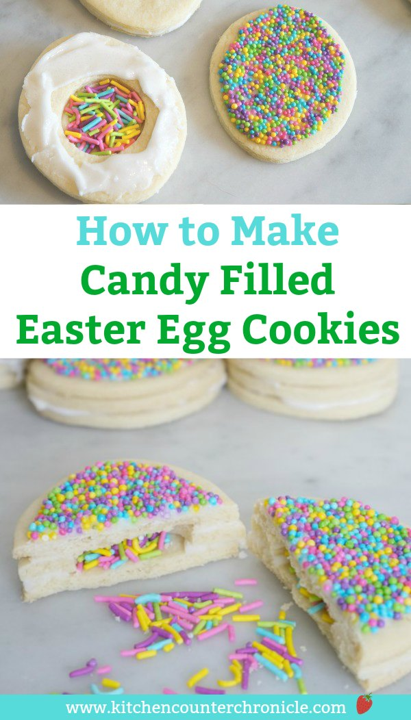 Bake a surprise this Easter! Candy filled sugar cookie Easter Egg cookies are simple to make and fun to share. #eastercookies #easter #eastertreats #Eastercandy #sugarcookies #filledcookies #candyfilledcookies