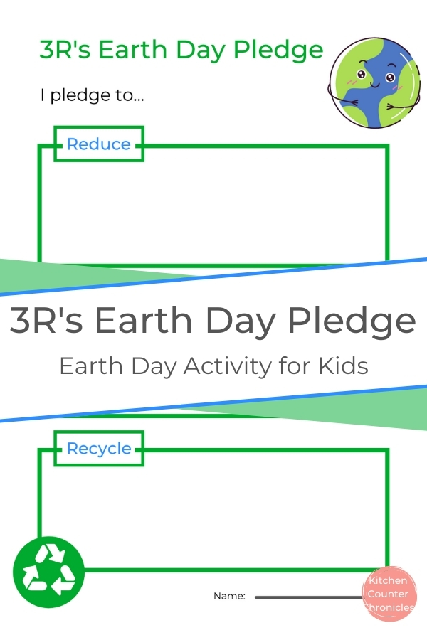 3R's Earth Day Pledge Printable Earth Day Activity for Kids