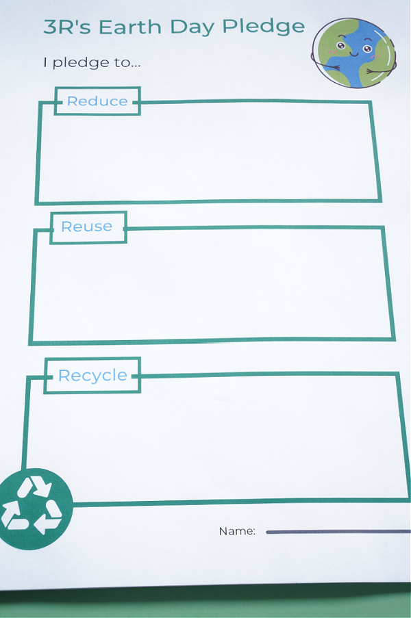 earth day activity for kids 3R's earth day pledge printed on paper