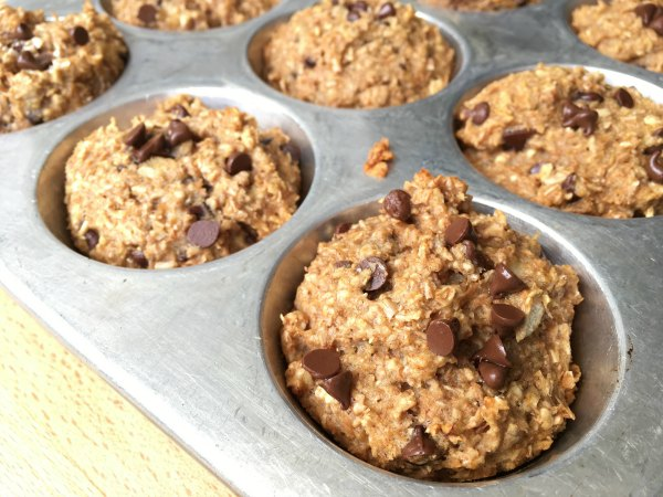 banana bran chocolate chip muffin in tin