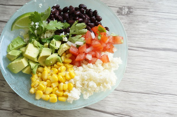 Healthy burrito bowl with cauliflower rice