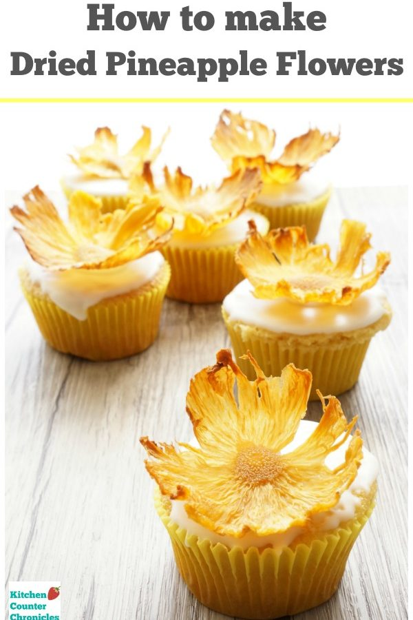 How to make dried pineapple flowers - These stunning dried pineapple flowers are simple to make and delicious to eat. Show stopping cake topper for birthday cake, wedding cake or simple cupcakes. | Dessert Recipe | Dried Fruit Recipe | Wedding Cake Recipe | Mother's Day Recipe | Pineapple Recipe |