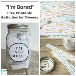 I'm Bored Jar Activities for Tweens - Free printable