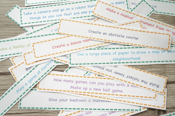 I'm Bored Activities for Tweens Printed and cut out