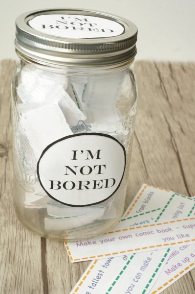 I'm bored jar of free printable activities for kids