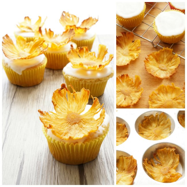 dried pineapple flowers on cupcakes