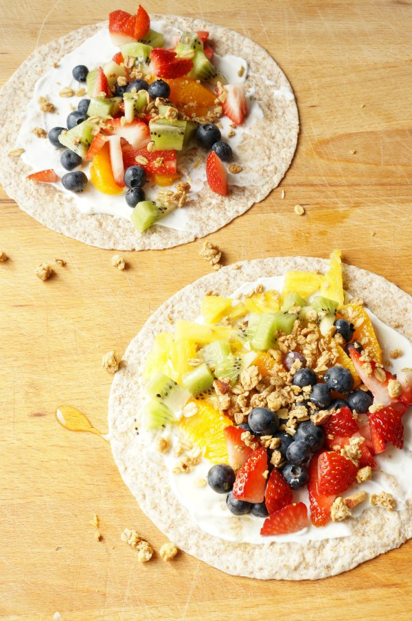 Fruity Rainbow Breakfast Wrap - A delicious breakfast option that kids can help make - Pile on the fresh fruit, granola and honey. | Breakfast for Kids | Rainbow Recipe | Healthy Breakfast |
