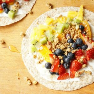 fruity rainbow breakfast wrap