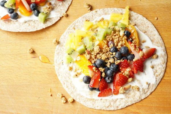 fruity rainbow breakfast wrap