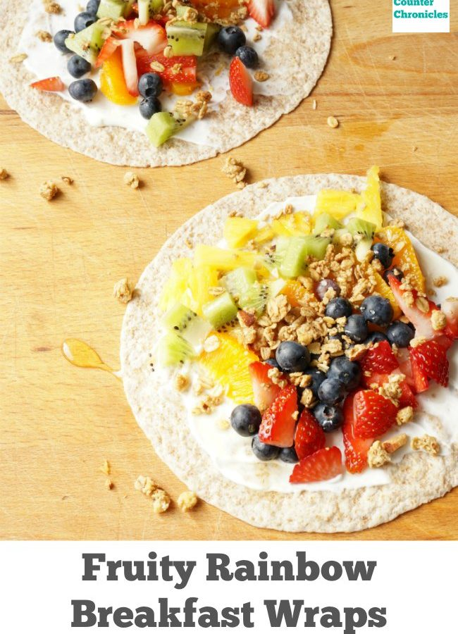 fruity rainbow breakfast wrap - A fun breakfast to make with kids. Gather up your favourite fruit, granola, and a drop of honey. | Healthy Breakfast | Breakfast for kids |