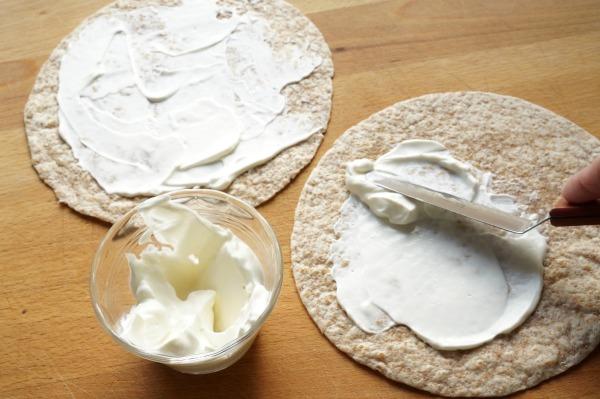 greek yogurt on wrap