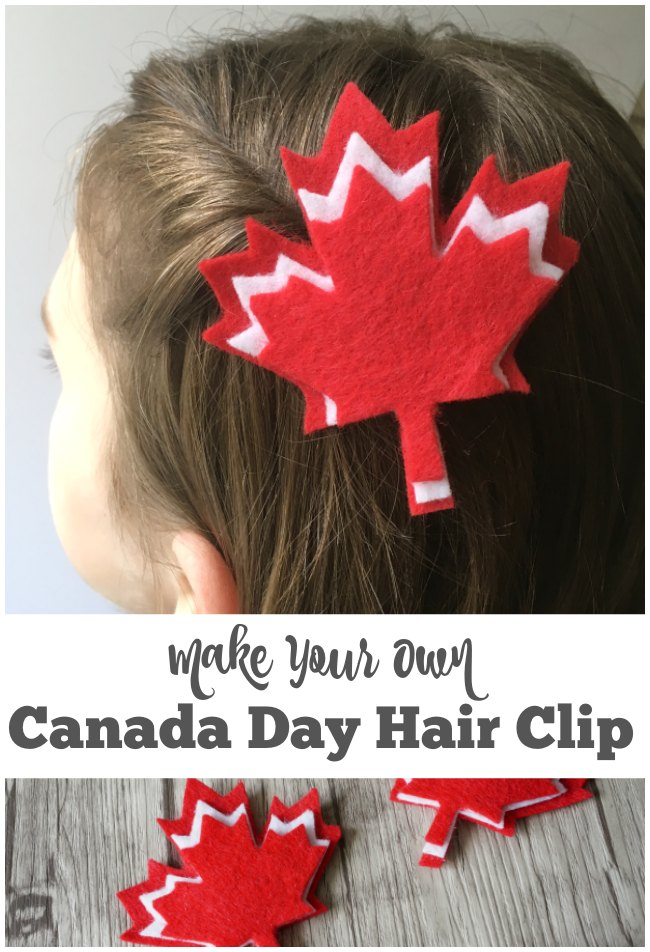 How to Make Your Own Canada Day Hair Clip - A free printable template to make a simple maple leaf hair clip. Perfect for celebrating Canada Day or switch up the colours and celebrate the autumn. | Felt craft | Canada Craft for Kids | Canada Day Craft |