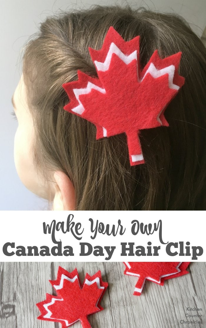 A free printable template for a simple Canada Day hair clip craft. Wear your pride this Canada Day or switch up the colours and make a maple leaf hair clip for the fall. | Canada Day Craft | Felt Craft | Free Printable | Fall Craft for Kids |
