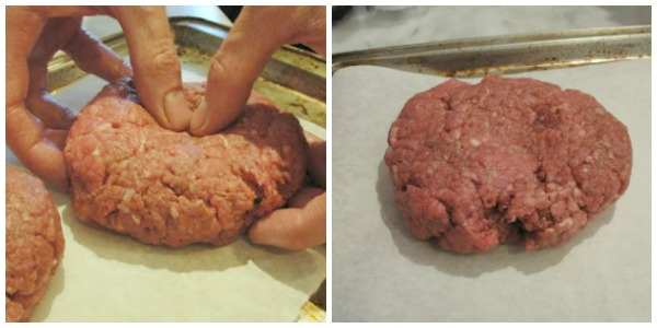 beef burger with divot