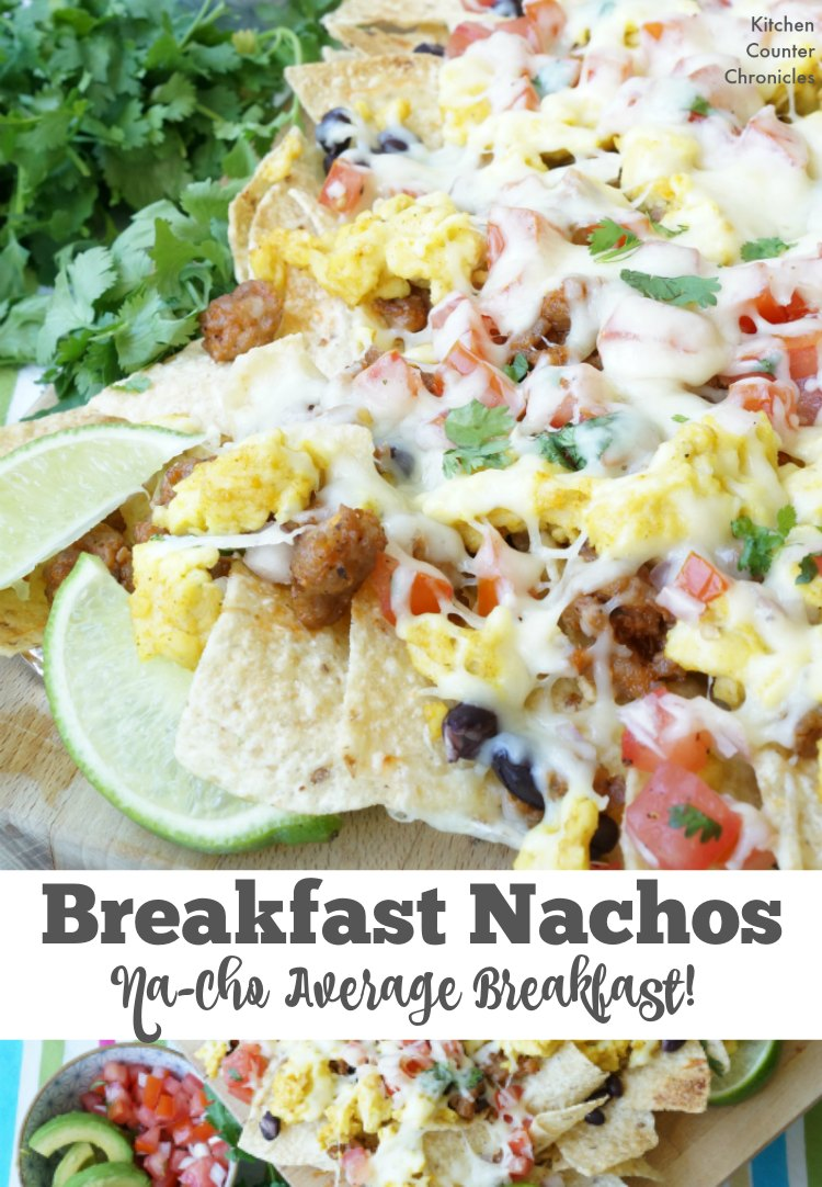 Breakfast Nachos - This is Na-Cho average breakfast. Kids and adults will love the flavour packed breakfast nachos. Covered in crispy chorizo sausage, scrambled eggs, fresh salsa, cheese and more! | Taco Tuesday | Breakfast Recipes | Egg Recipe | Mexican Recipe | Family Friendly Recipe | Nacho Recipe |