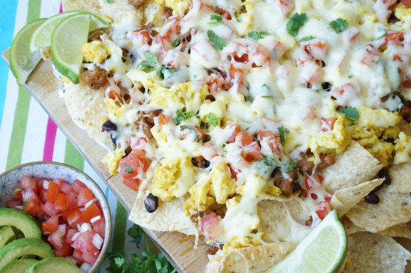 breakfast nachos with melted cheese
