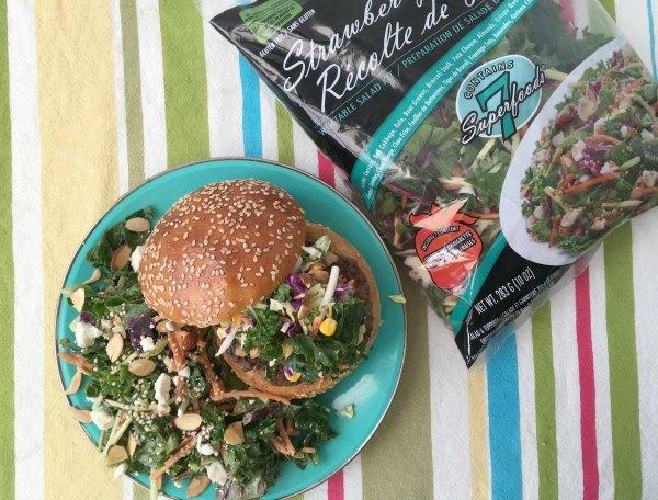 burger with salad bag
