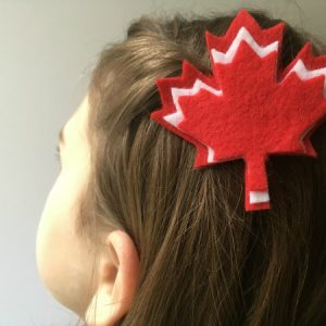 felt maple leaf hair clip in hair